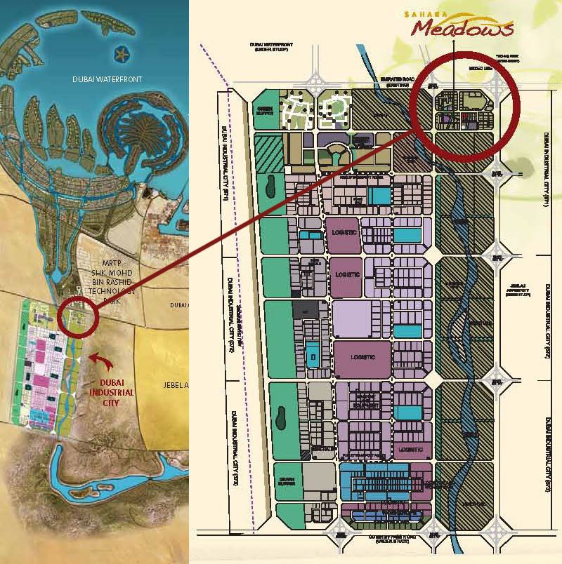 Project location sahara meadows in dubai industrial city dubai dubai world central the new jebel ali airport and the dubaiabu dhabi border 80 km from abu dhabi it is also located 12 km from jebel ali port and gumiabroncs Image collections